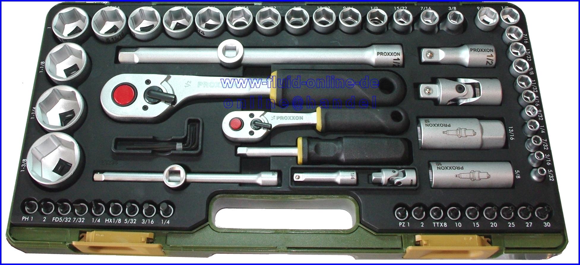 proxxon 23294 zoll werkzeugkoffer werkzeug mit 6 3mm 1 4 12 5mm 1 2 neu ebay. Black Bedroom Furniture Sets. Home Design Ideas