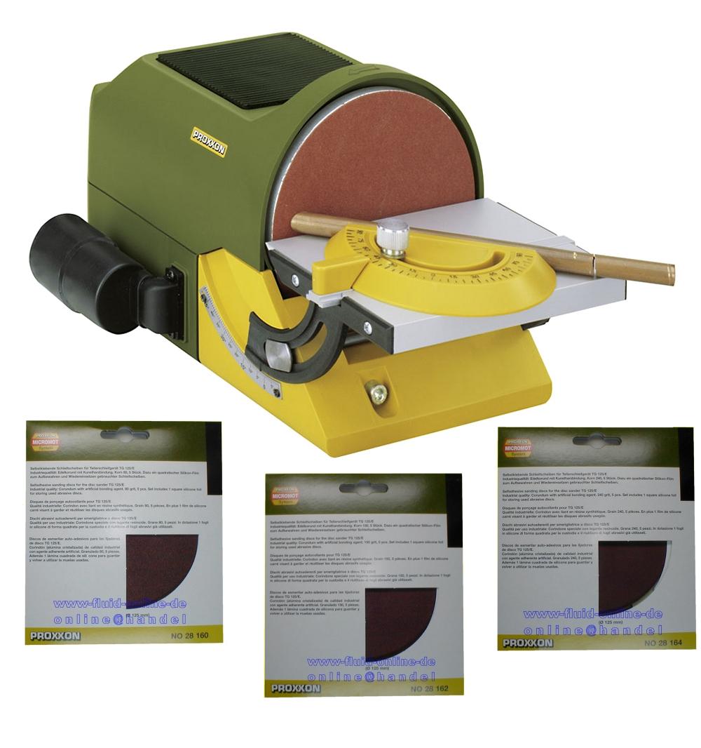 paket proxxon 27060 tellerschleifer tg125 e schleifscheiben 28160 28162 28164 4006274270602 ebay. Black Bedroom Furniture Sets. Home Design Ideas