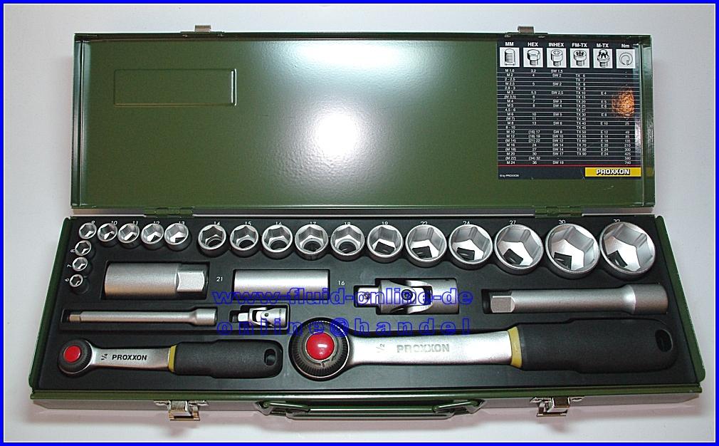 Proxxon 23020 Knarrenkasten 27teilig Mit 2 Knarren 6 3mm 1 4 12