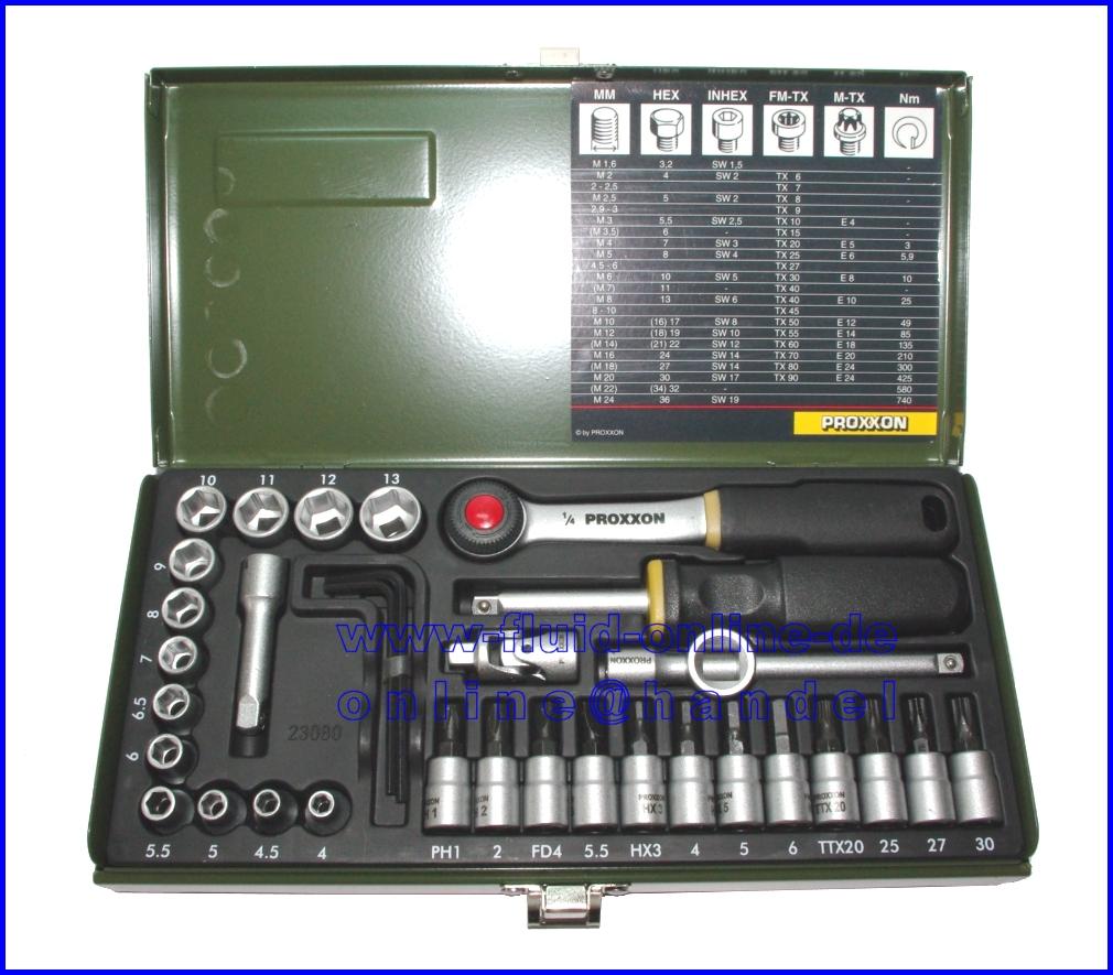 Proxxon 23080 Ratschenkasten 36tlg Nusse Bits Knarre Antrieb 6